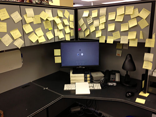 All that remained was my Wall-O-Post-Its; I refused to take them down.