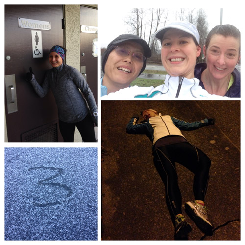 Four runs (clockwise): I have to pee!; splish splash; death by hills; SNOW... sort of.