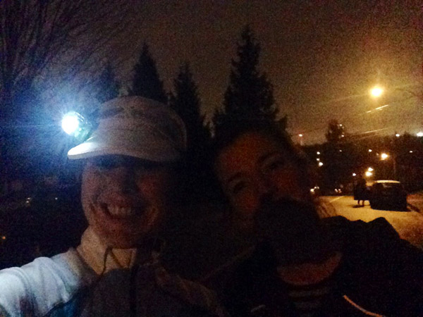 Top of the last hill and we smile –because running is what we do.